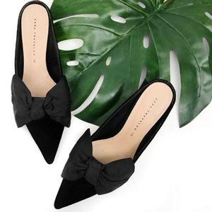 Zara Trafaluc kitten heel velvet shoes with bow